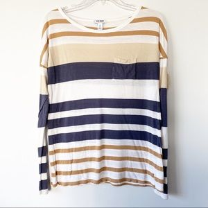 Old Navy Long Sleeve Shirt Tan Stripe Size Small P